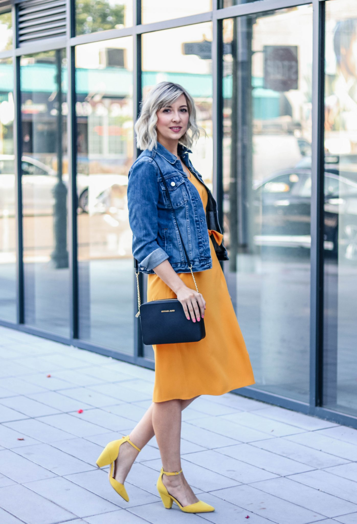 yellow dress & denim jacket 1