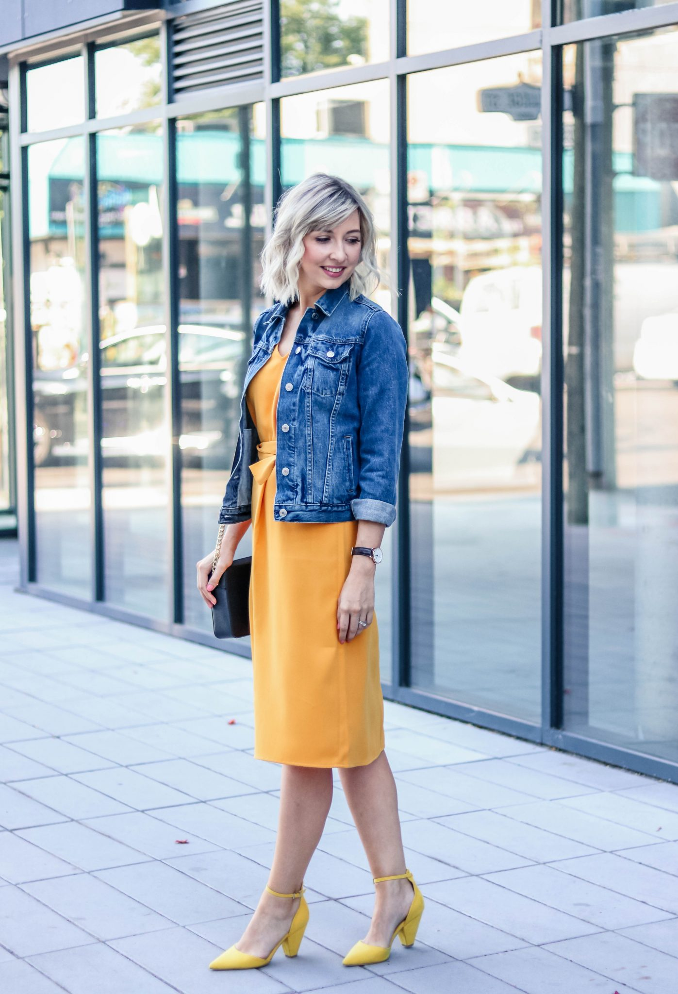 yellow dress & denim jacket 2