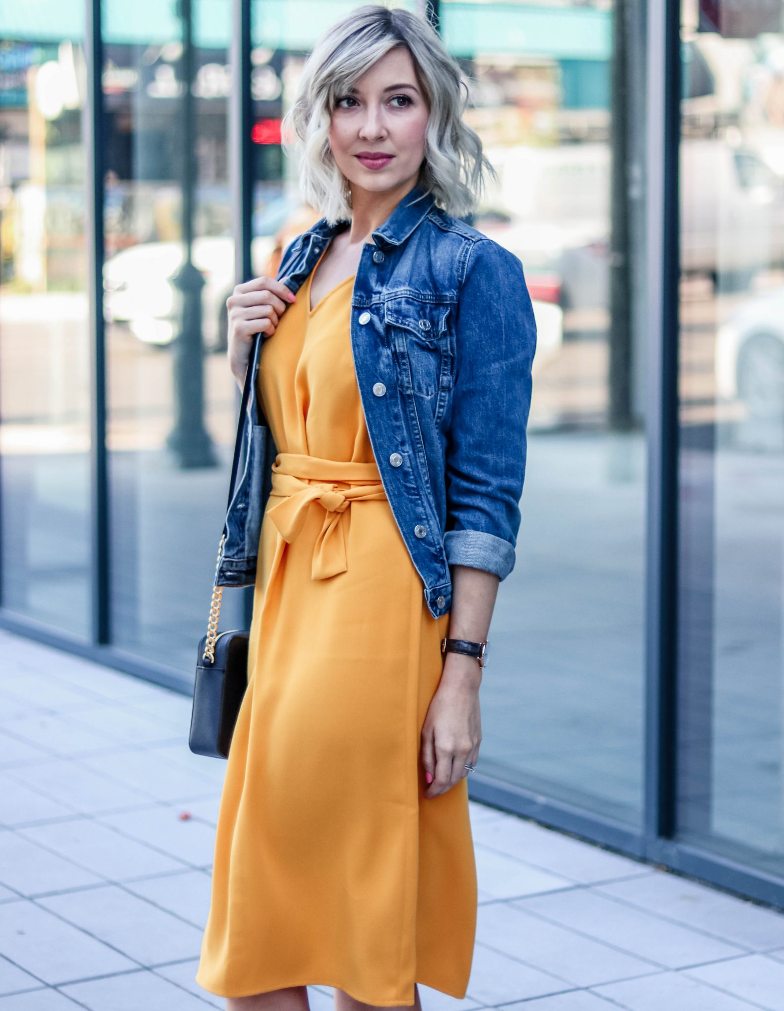 yellow dress & denim jacket 3