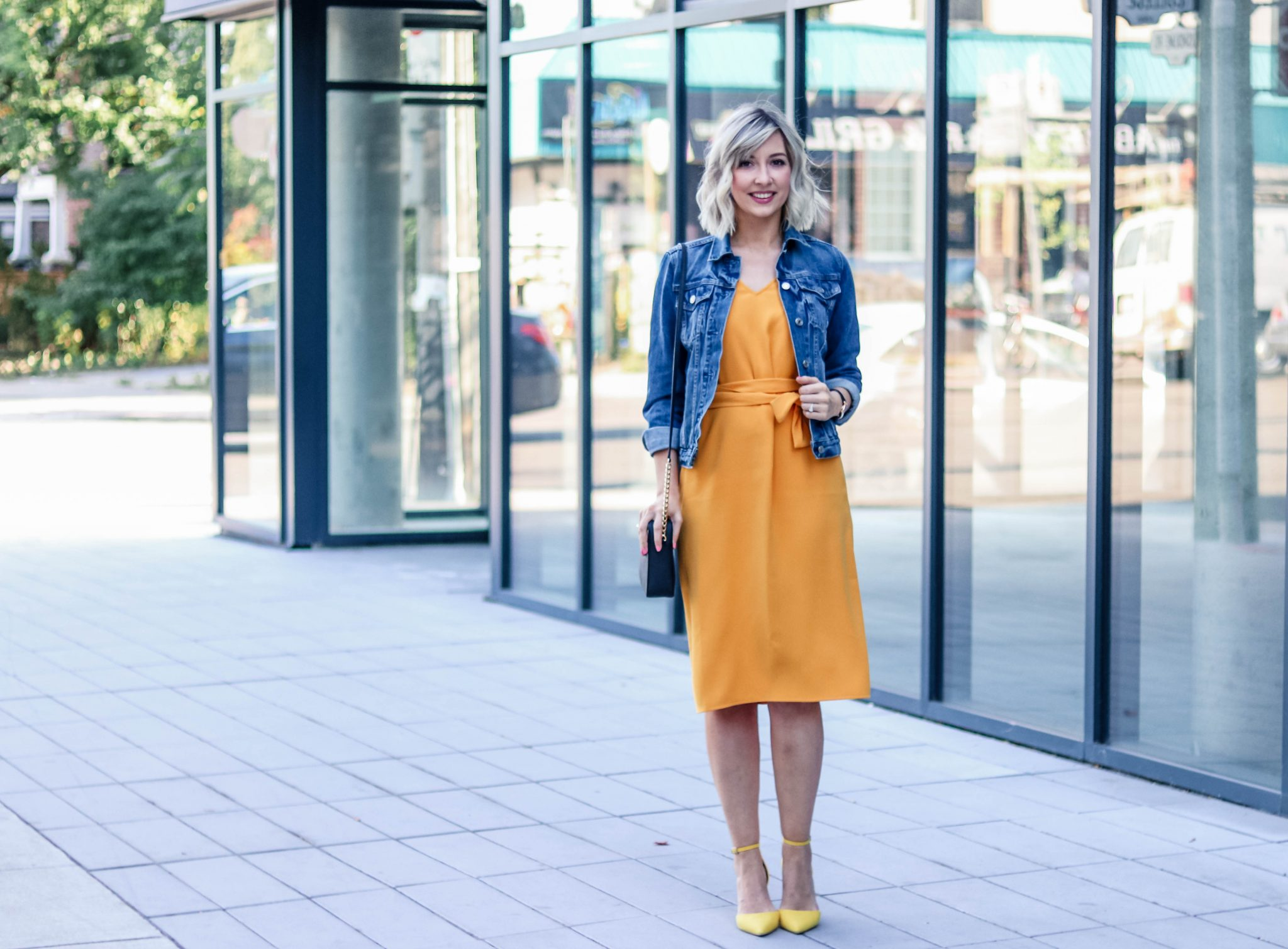 ann taylor dress & denim jacket 4