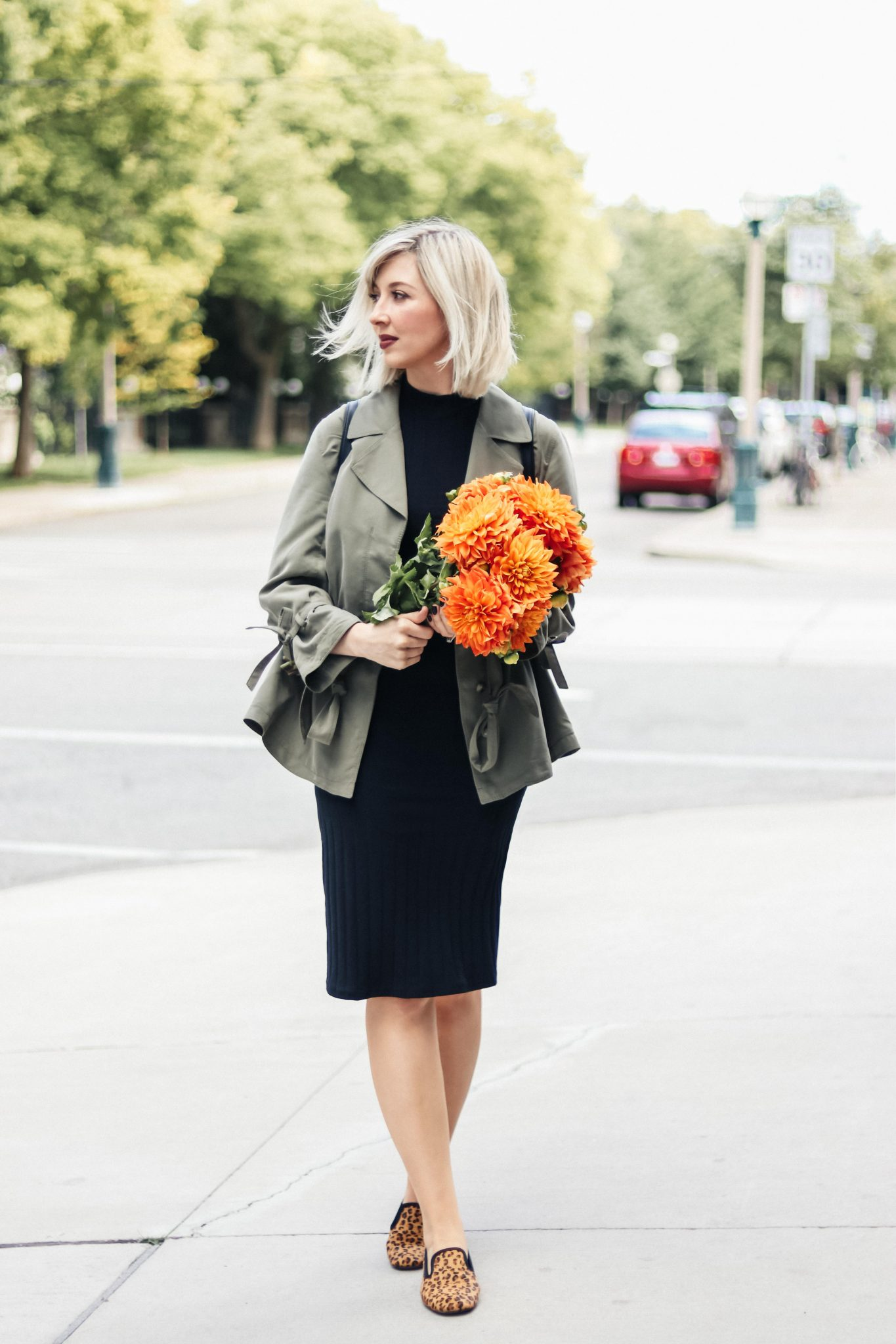 Styling Fitted Dress with khaki blazer & leopard loafers 1