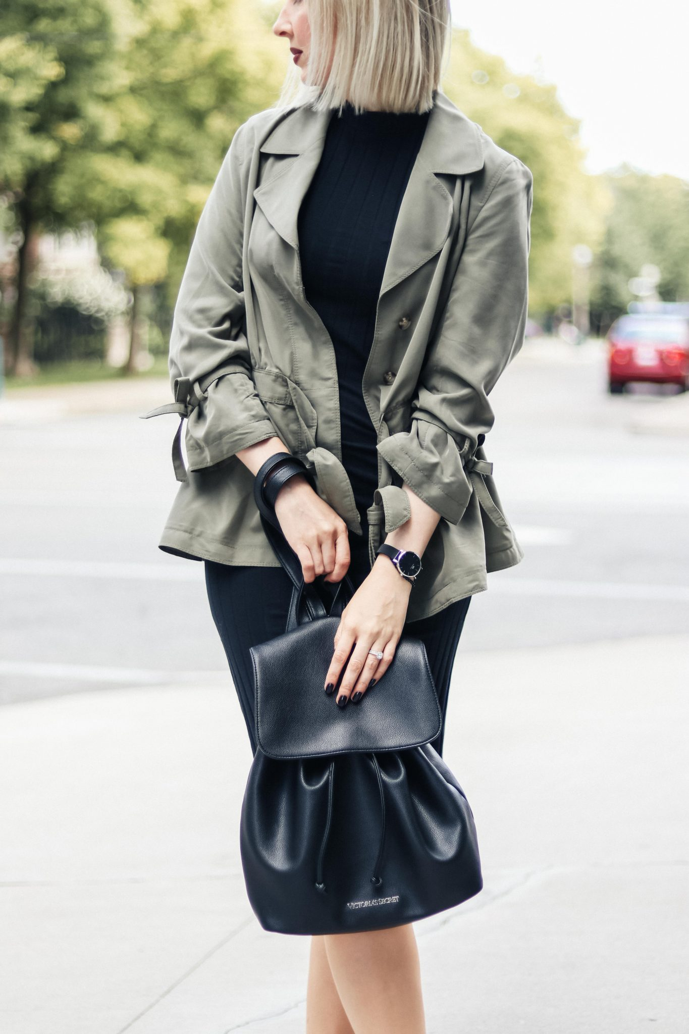 khaki top and black dress details