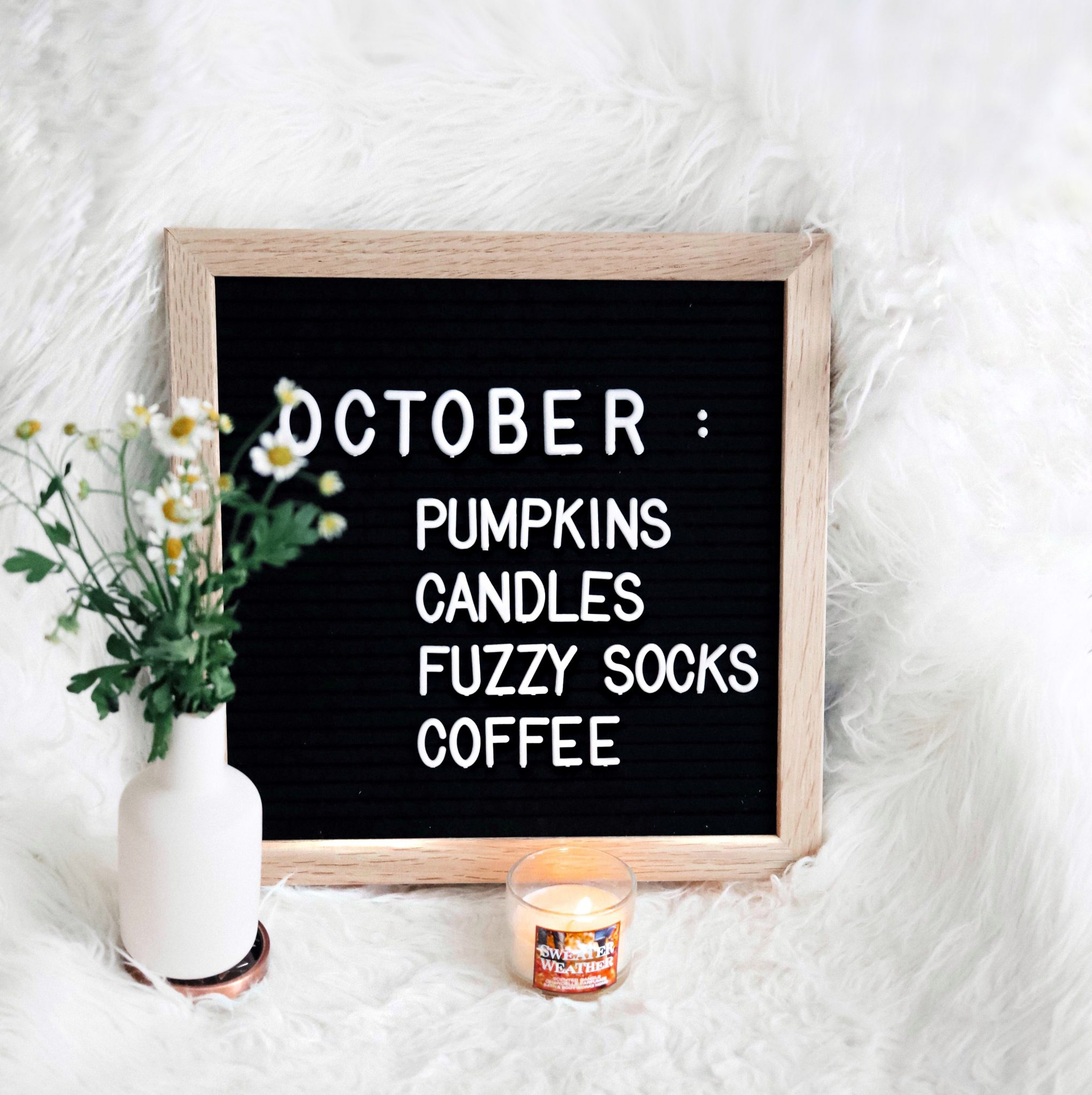 october wooden letter board