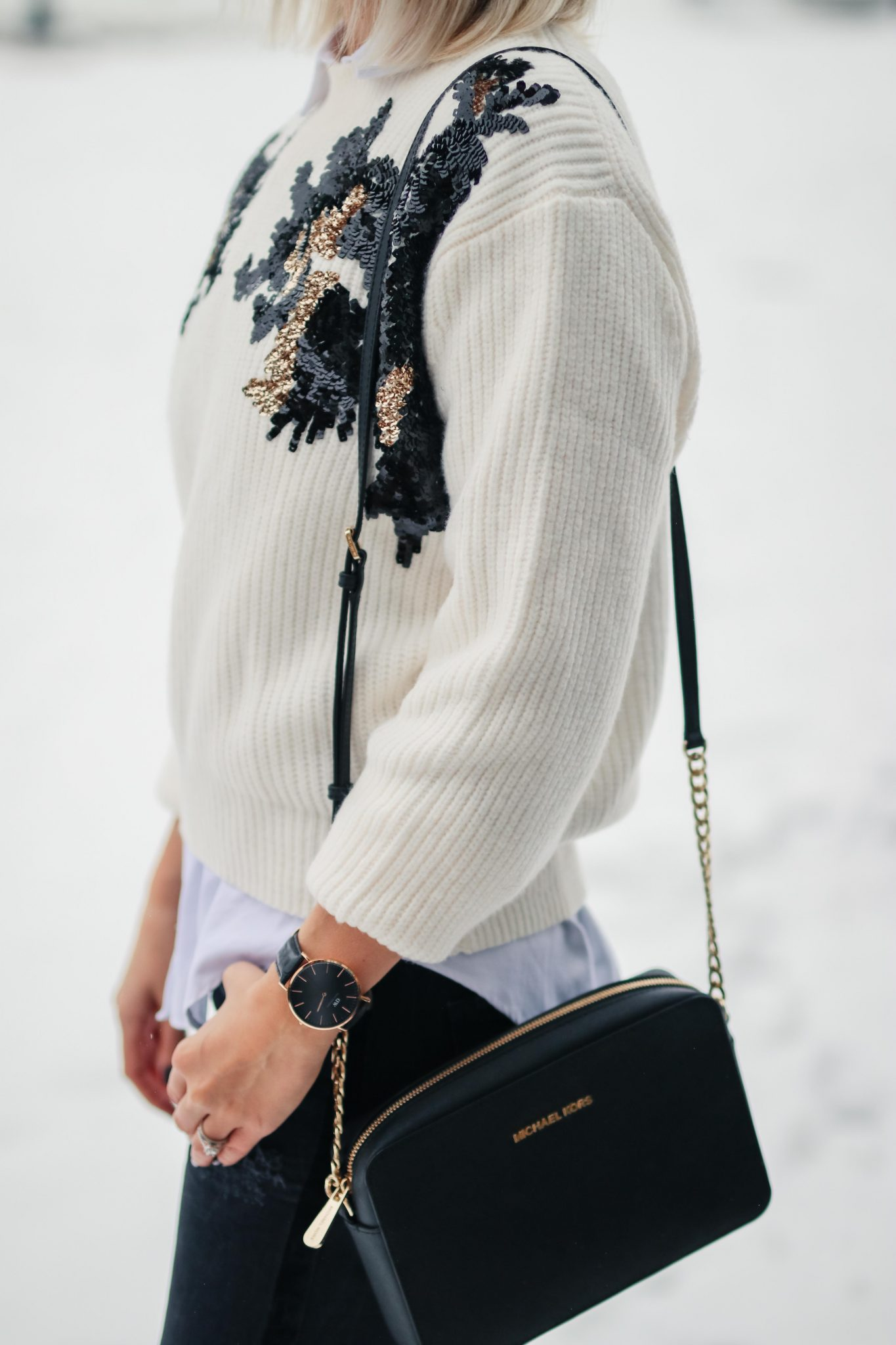 winter knit sweater with sequins