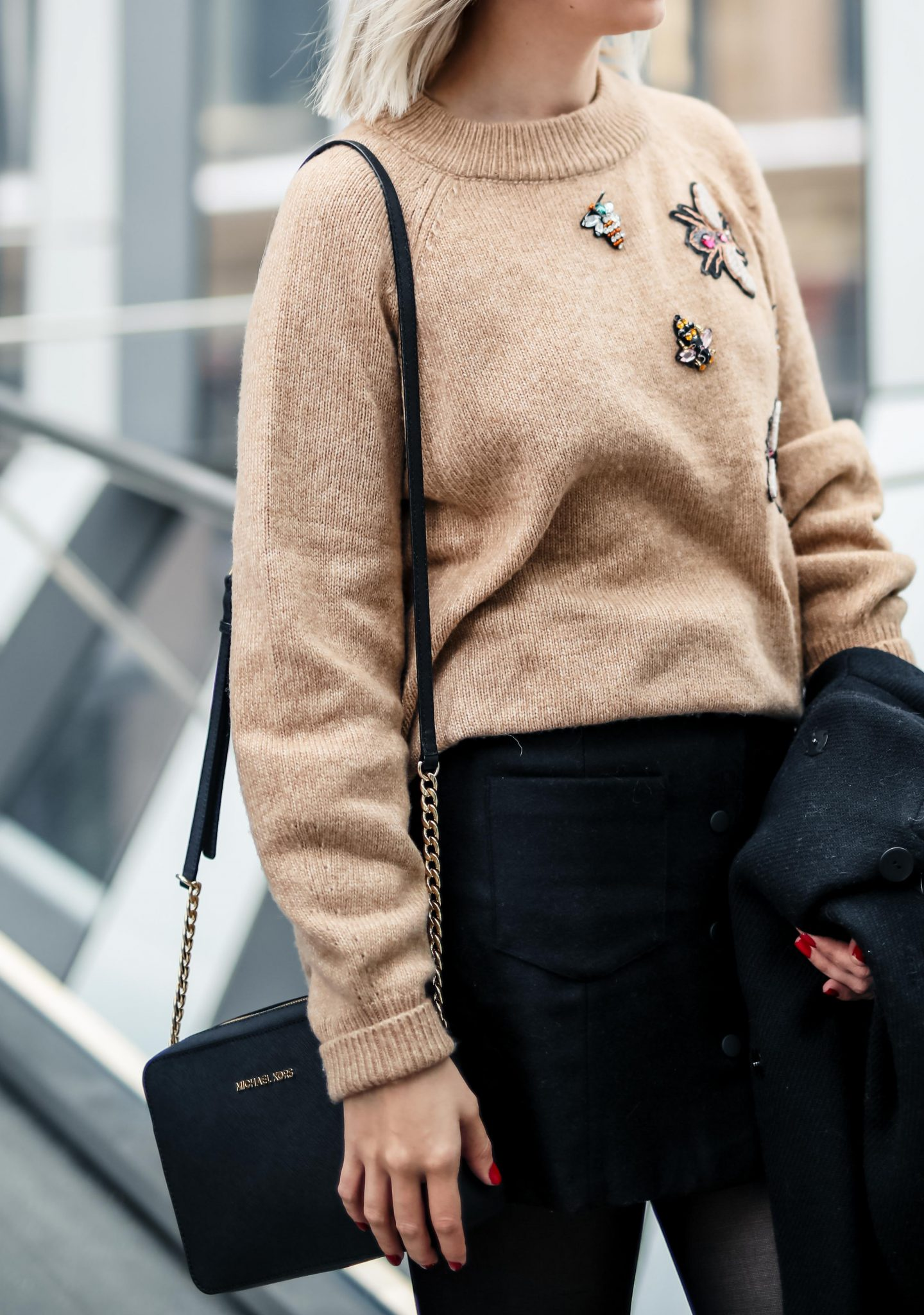 embellished knit sweater h&M