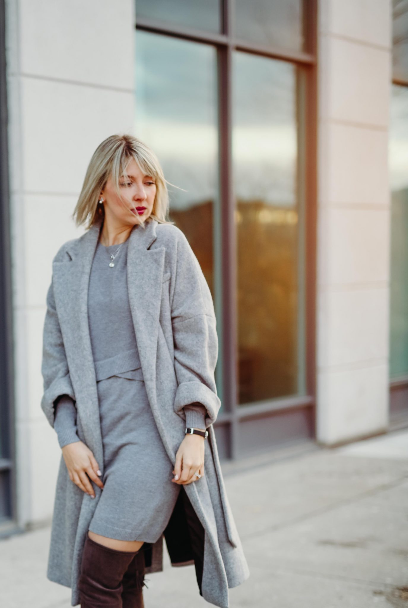 grey knit dress & long coat (1 of 10)