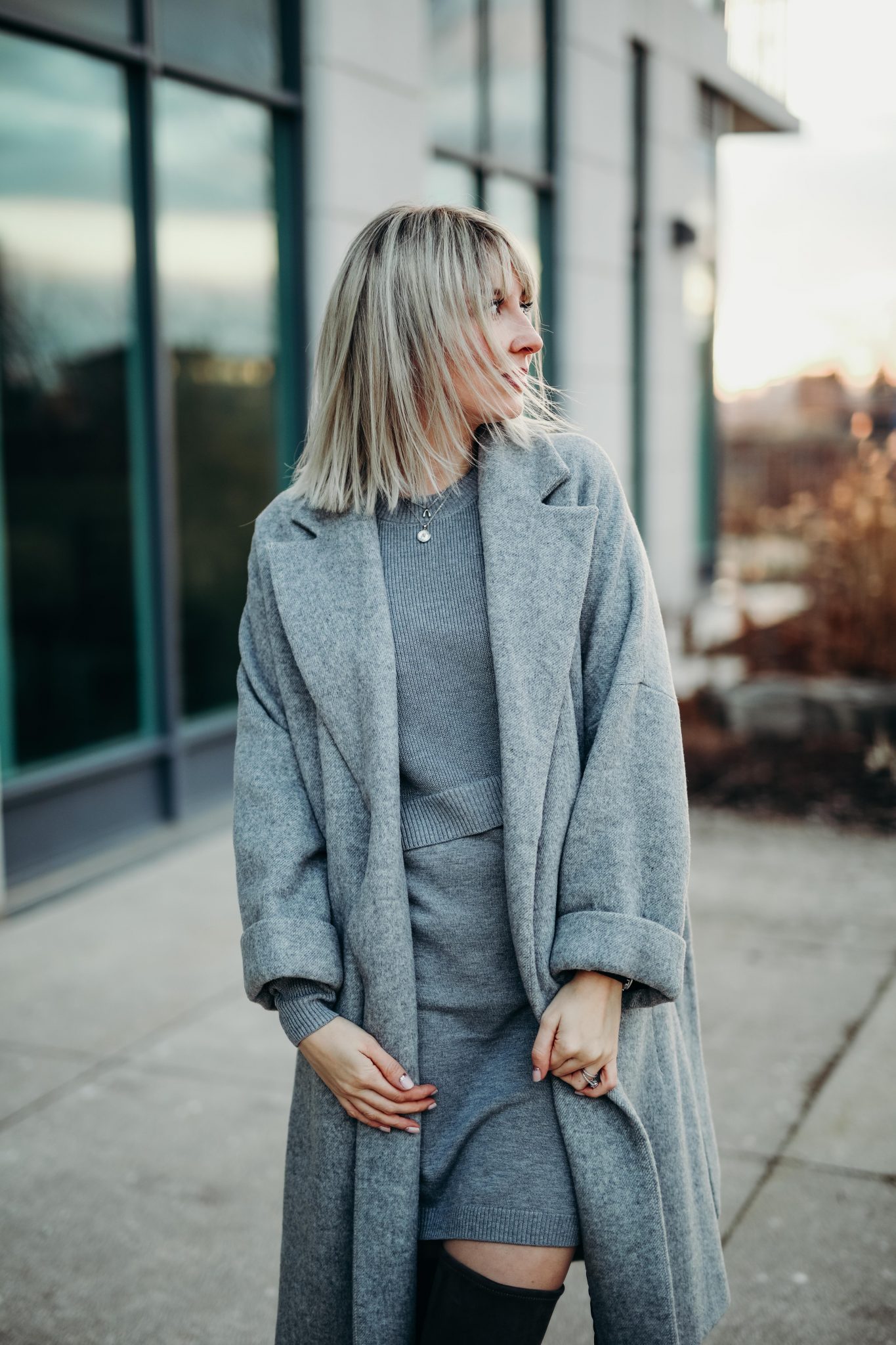 grey knit dress & long coat (3 of 10)