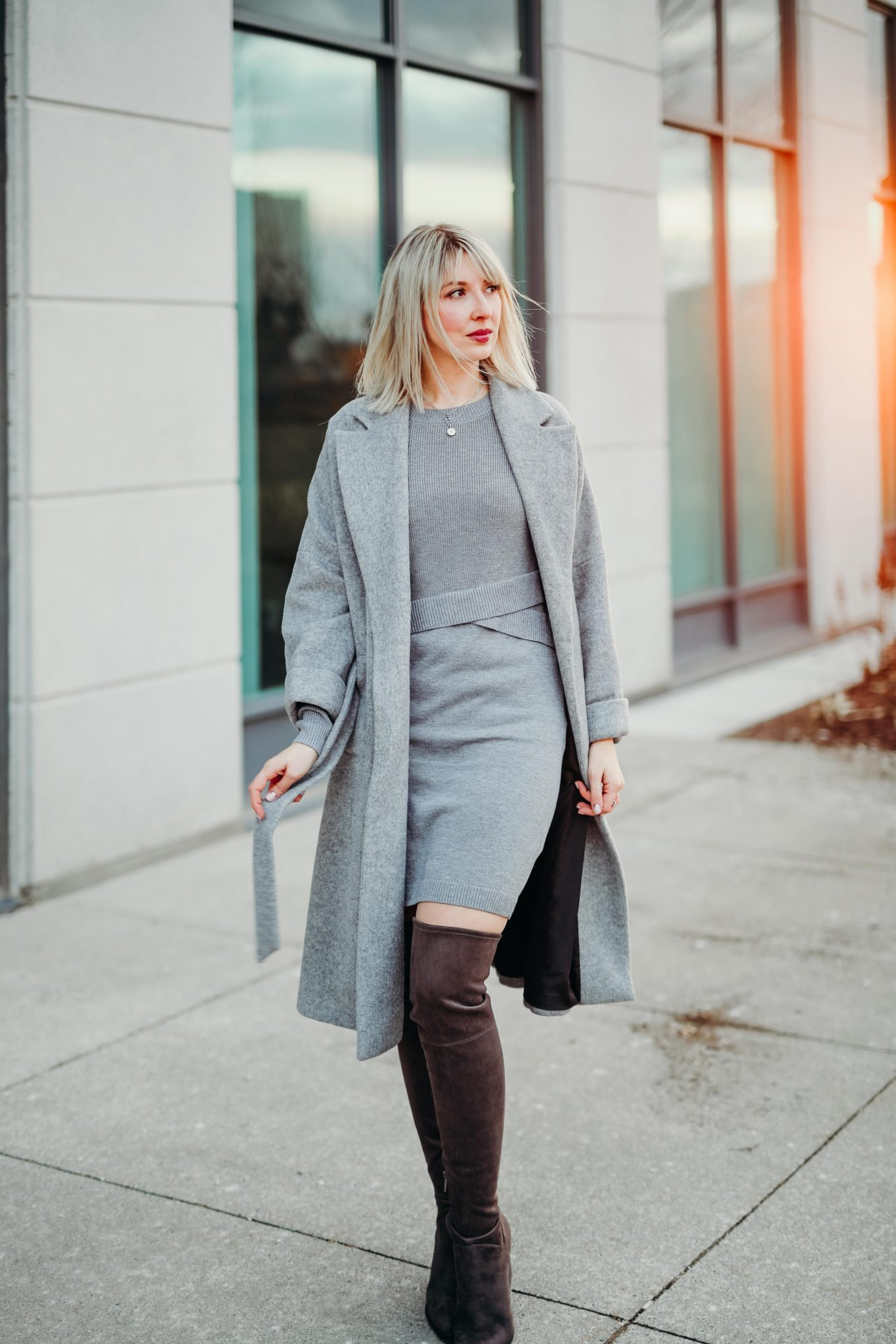 grey knit dress & long coat (4 of 10)