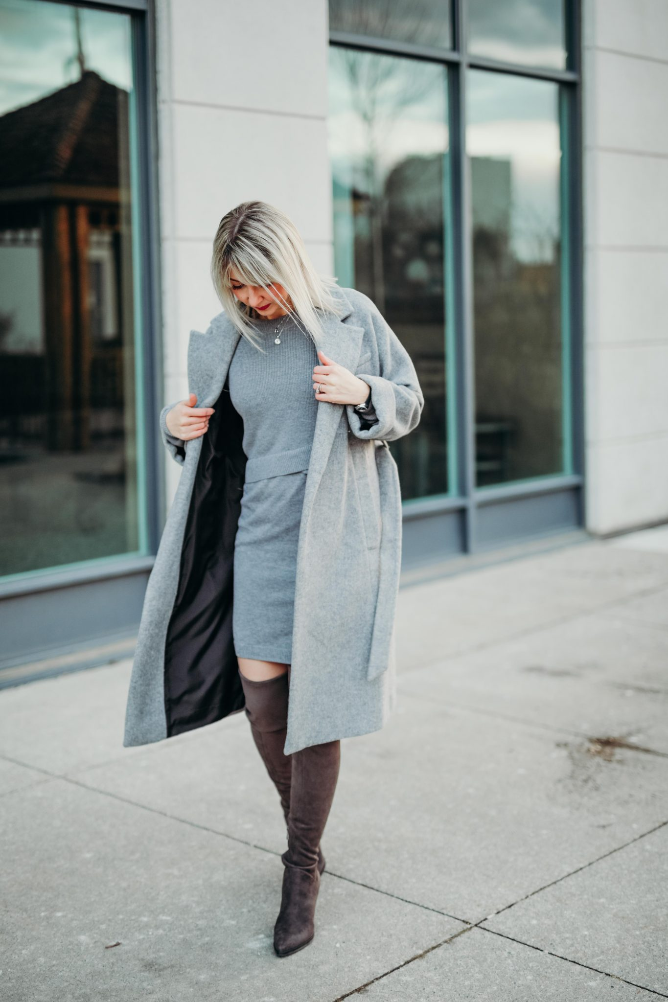 grey knit dress & long coat (5 of 10)