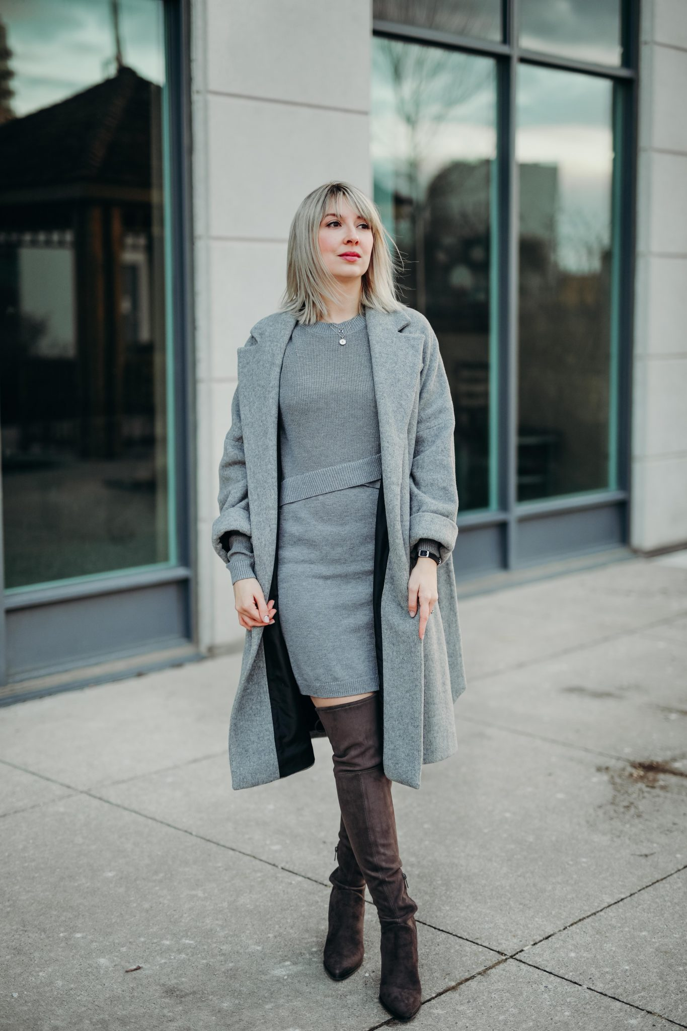 grey knit dress & long coat (6 of 10)