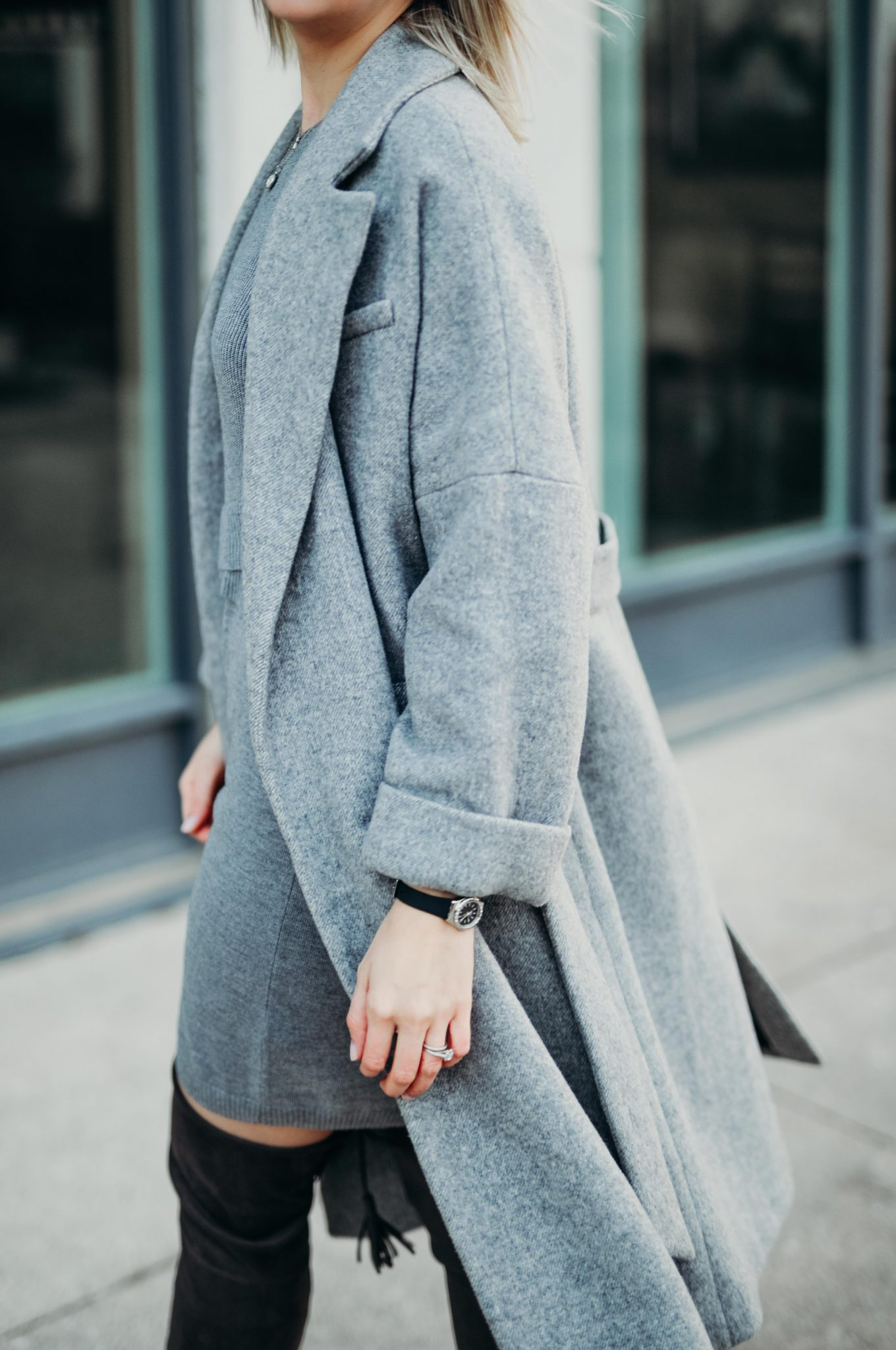 grey knit dress & long coat (7 of 10)