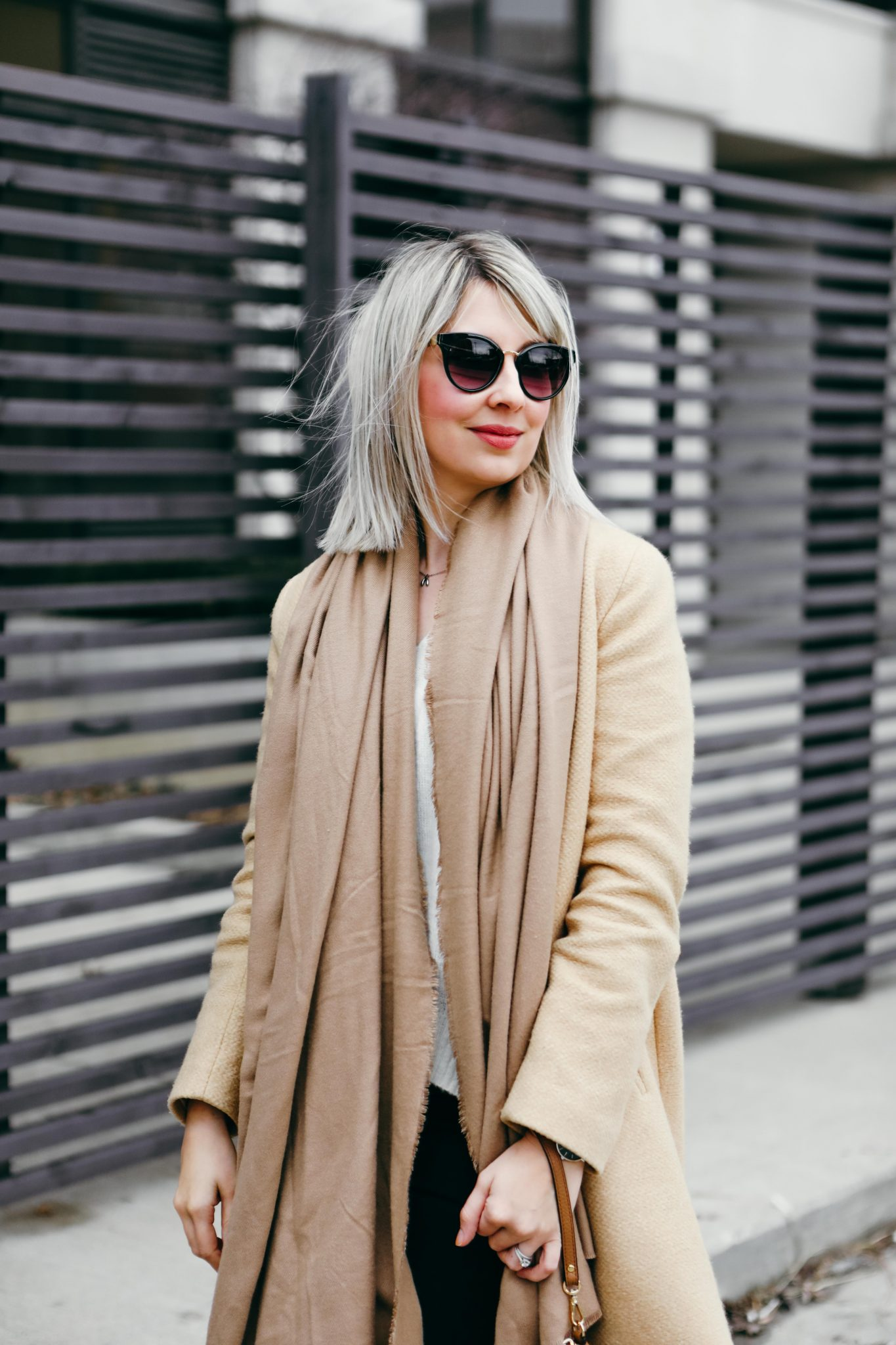 brown coat and long scarf street style (1 of 9)