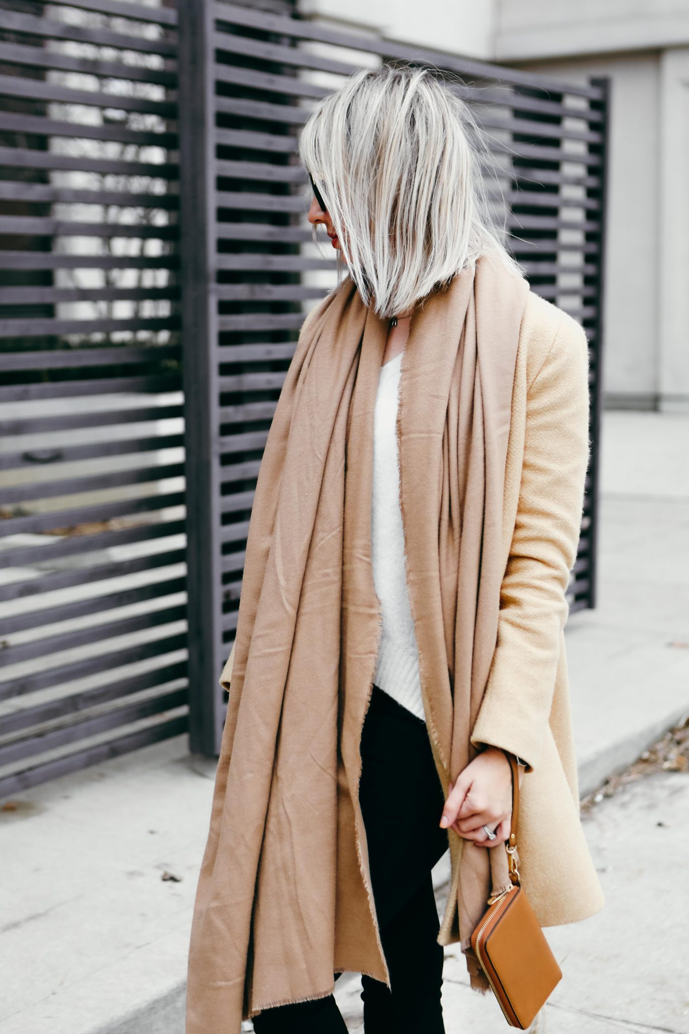 brown coat and long scarf street style (2 of 9)