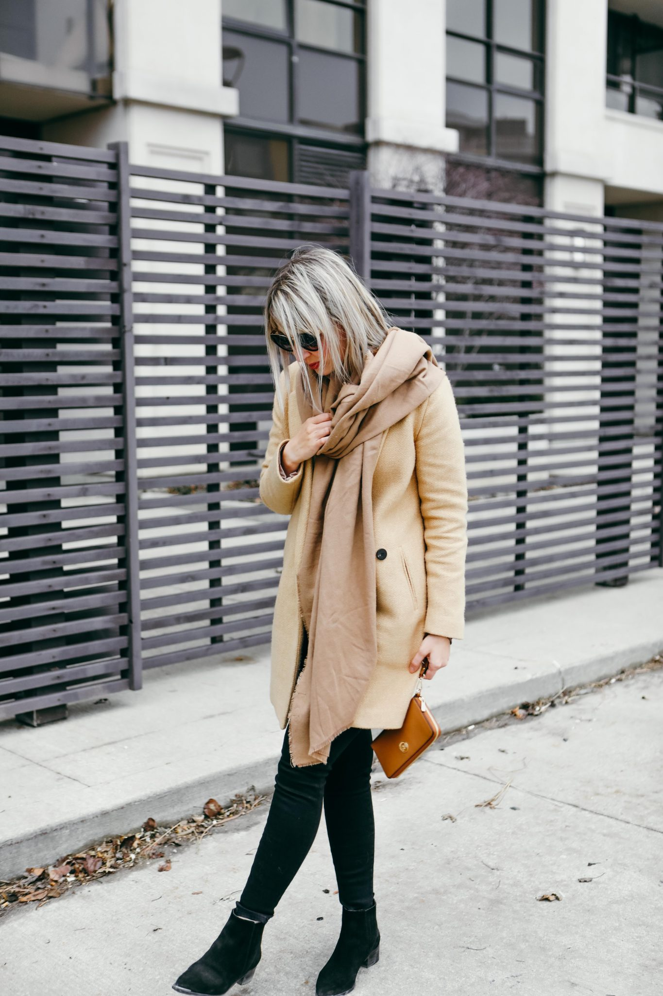 brown coat and long scarf street style (3 of 9)
