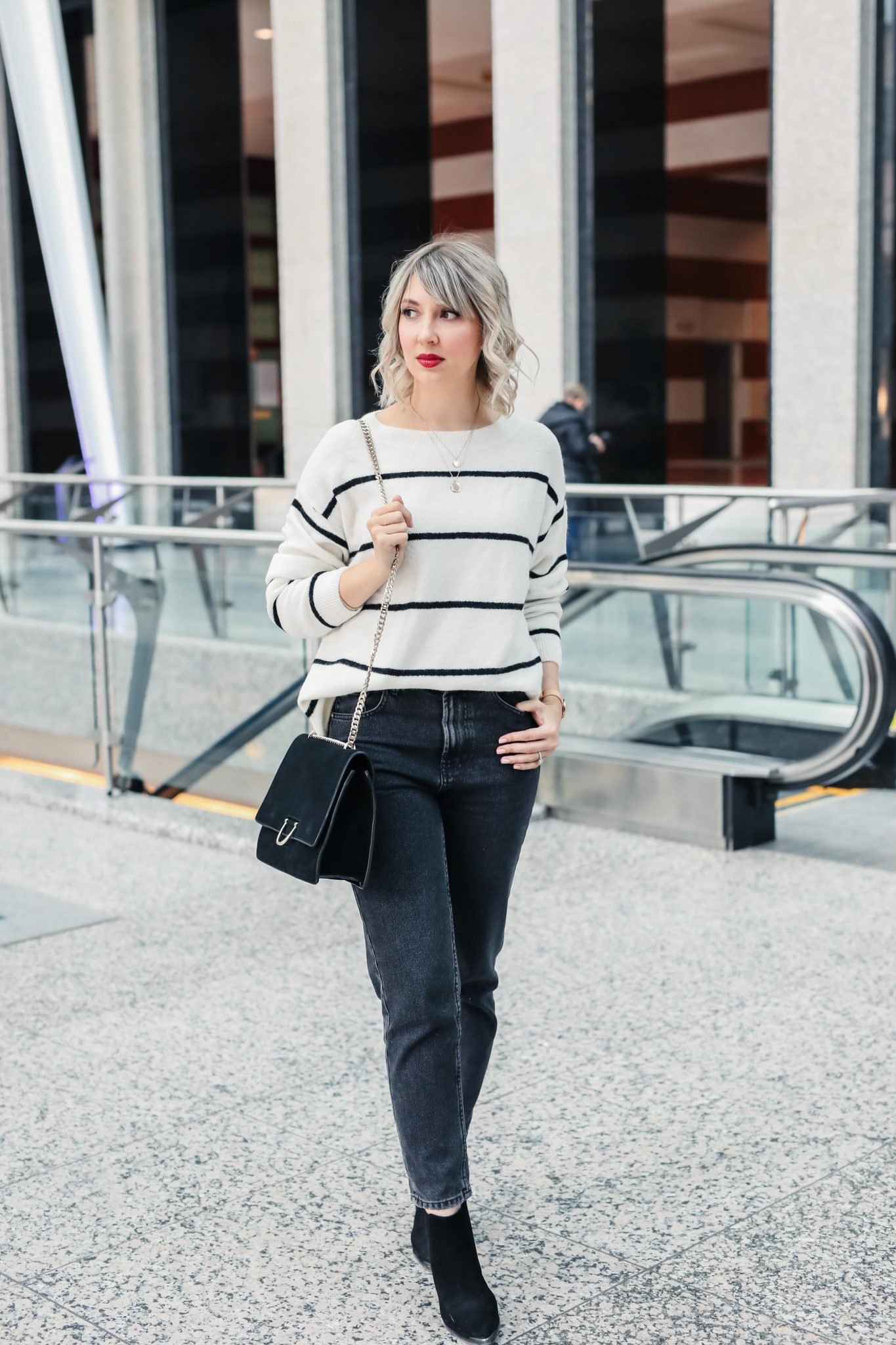 mom jeans stripe sweater spring style 2