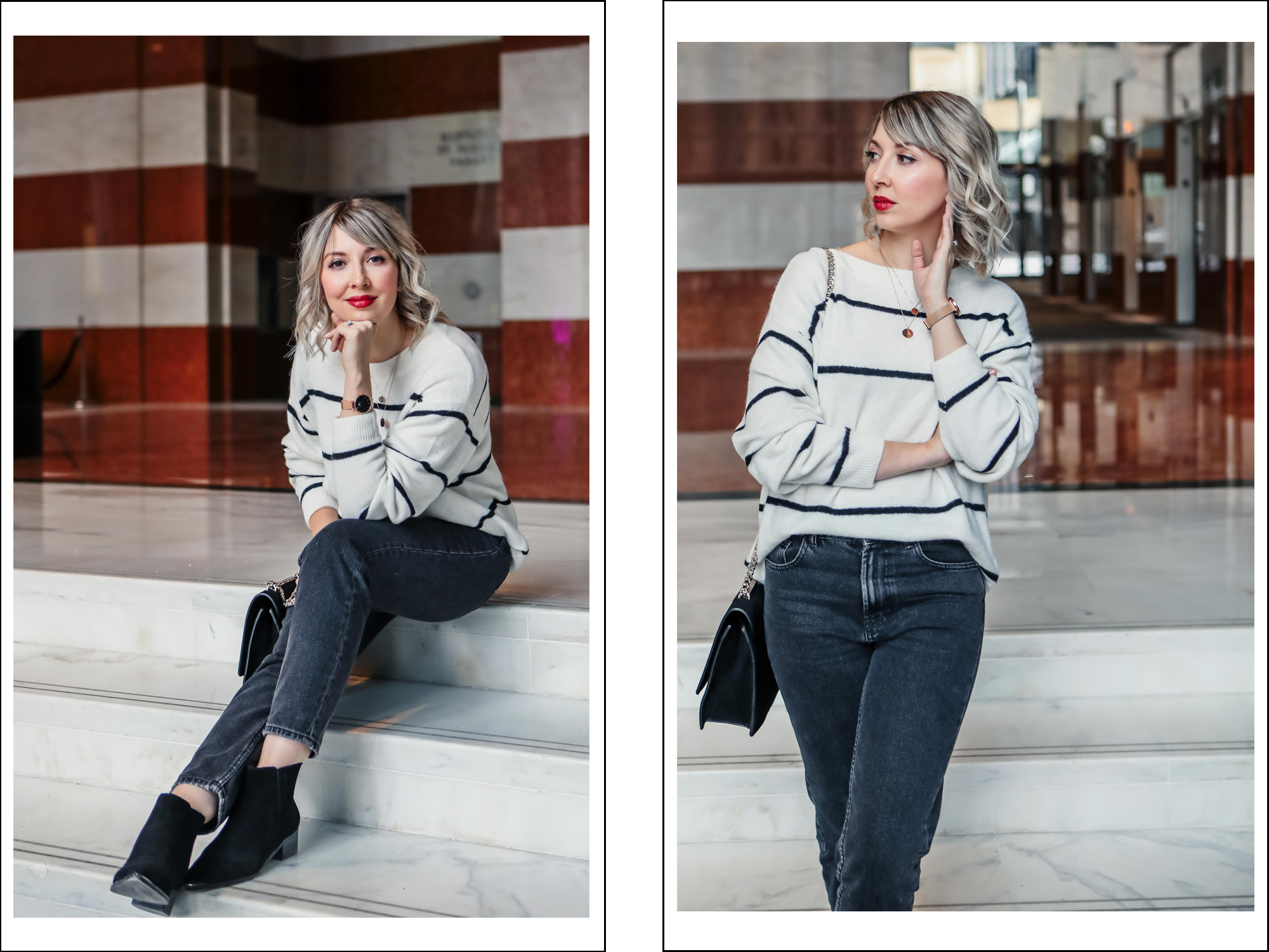 mom jeans stripe sweater spring style