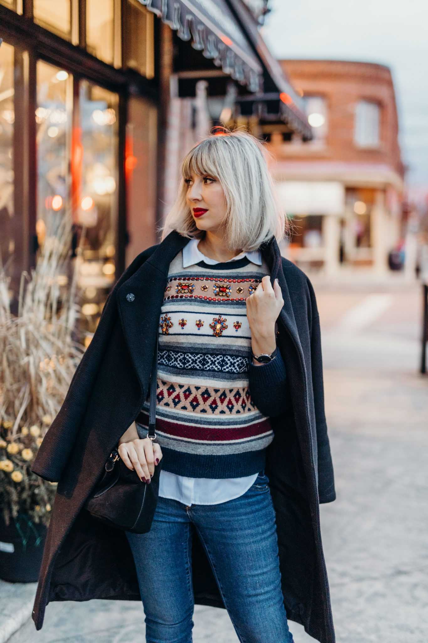 embellished sweater jcrew street style (1 of 3)