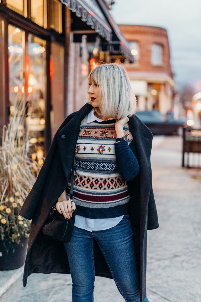 embellished sweater jcrew street style (3 of 3)