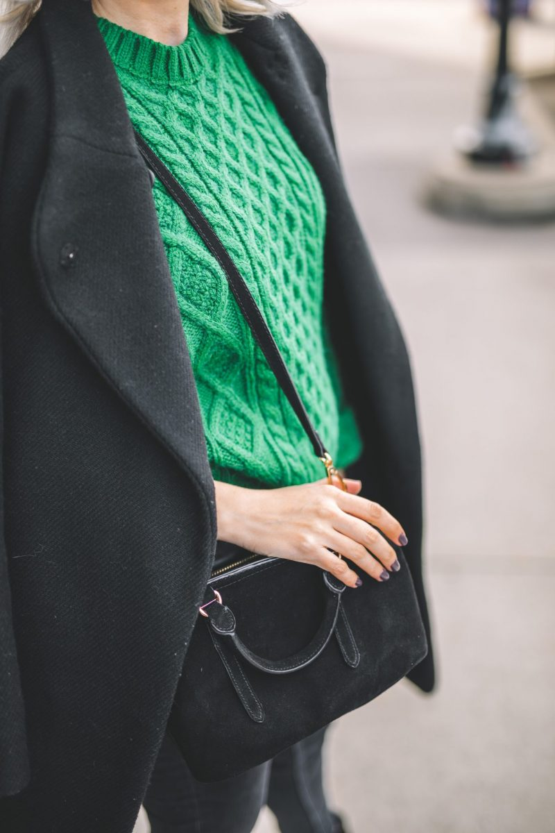 oversize coat, green knitted sweater, baker boy hat style 7