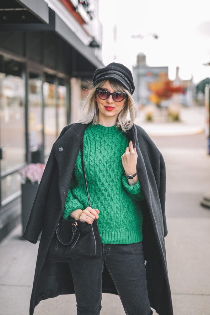 oversize coat, green knitted sweater, baker boy hat style 8