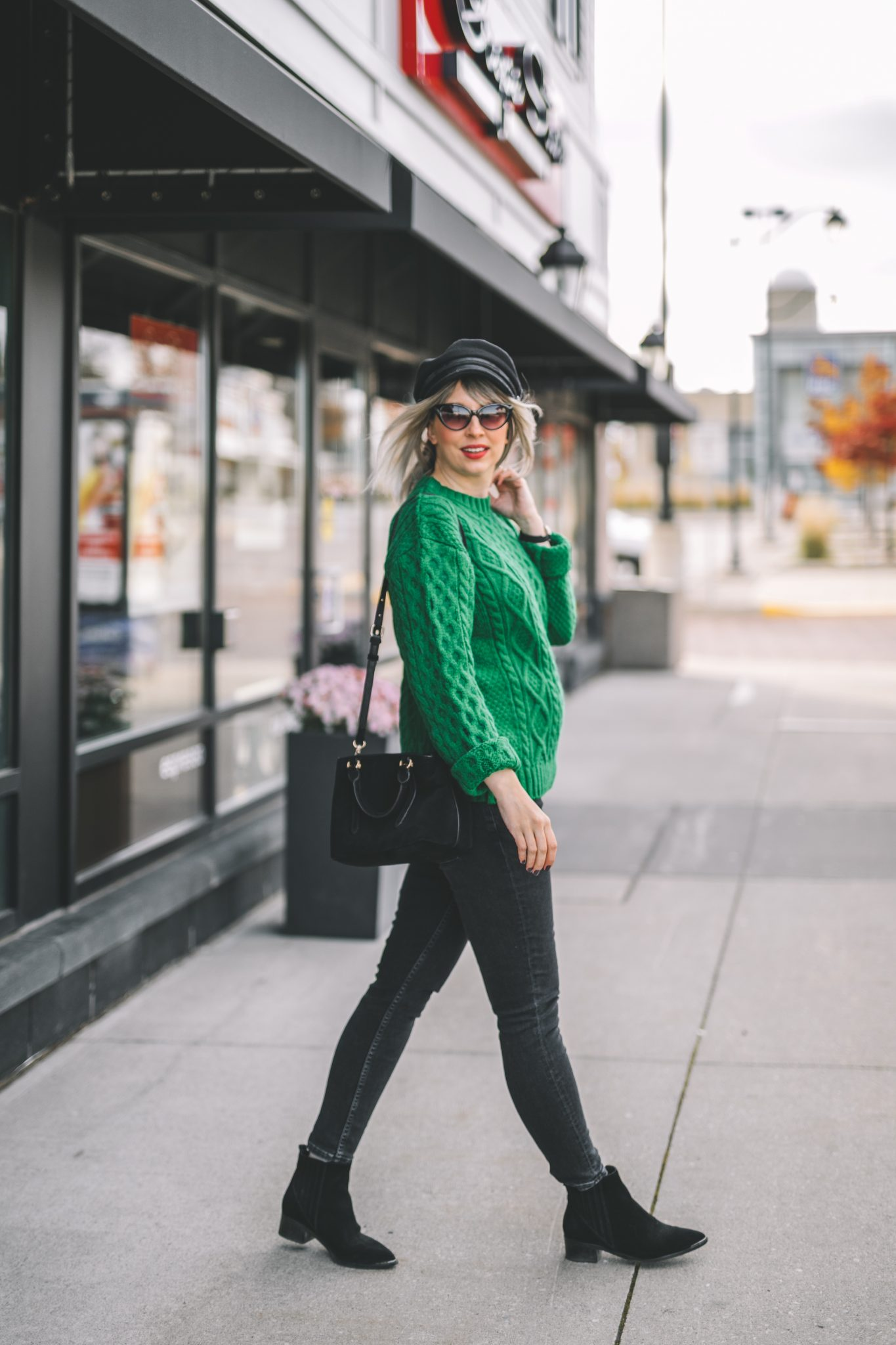 oversize coat, green knitted sweater, baker boy hat style 5