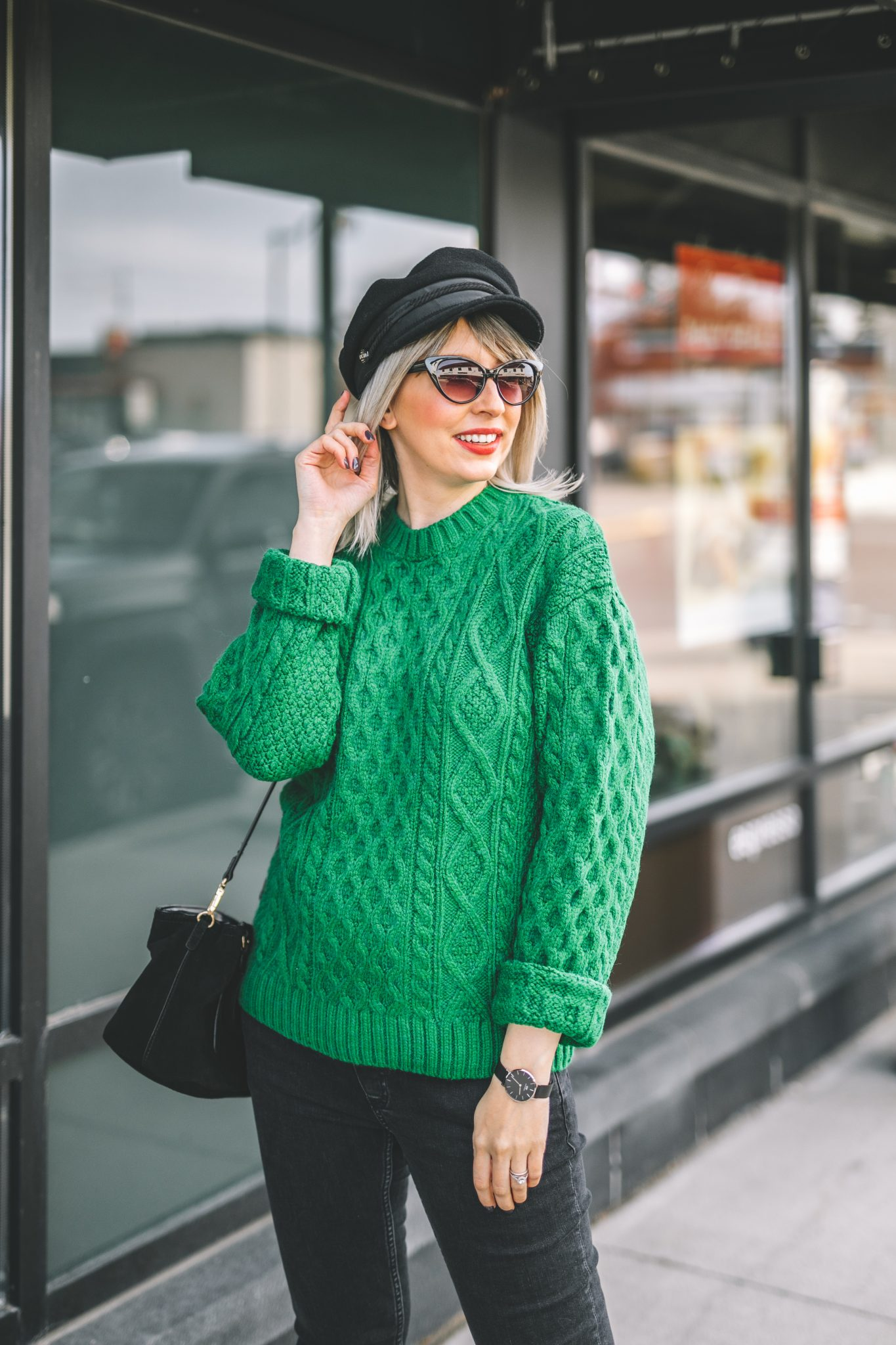 oversize coat, green knitted sweater, baker boy hat style 6