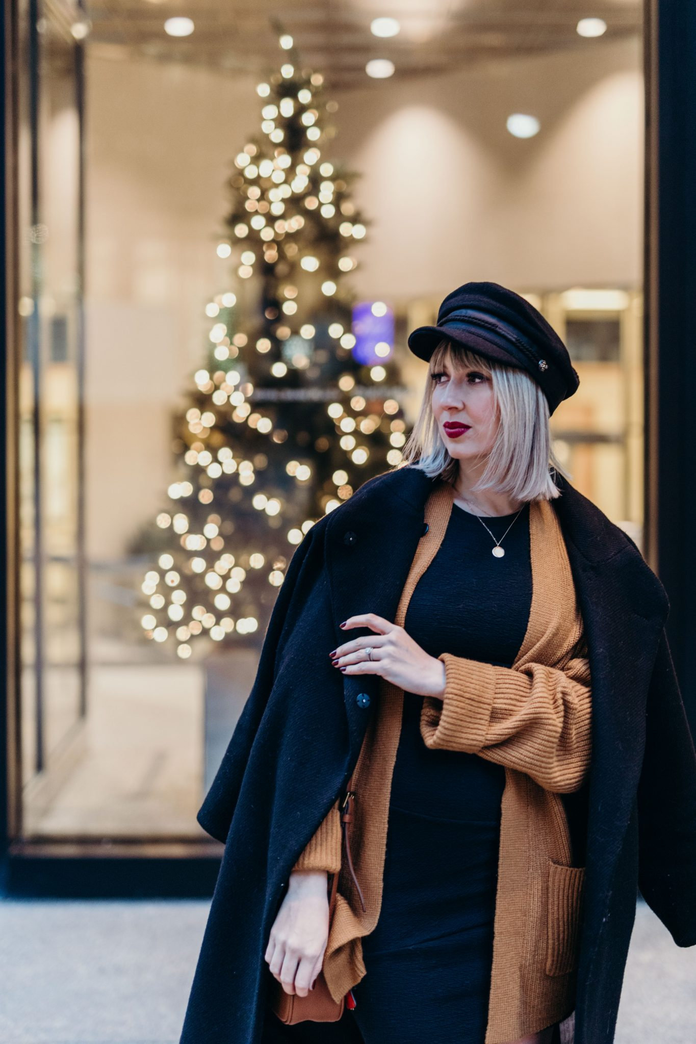 oversized coat & baker boy hat street style