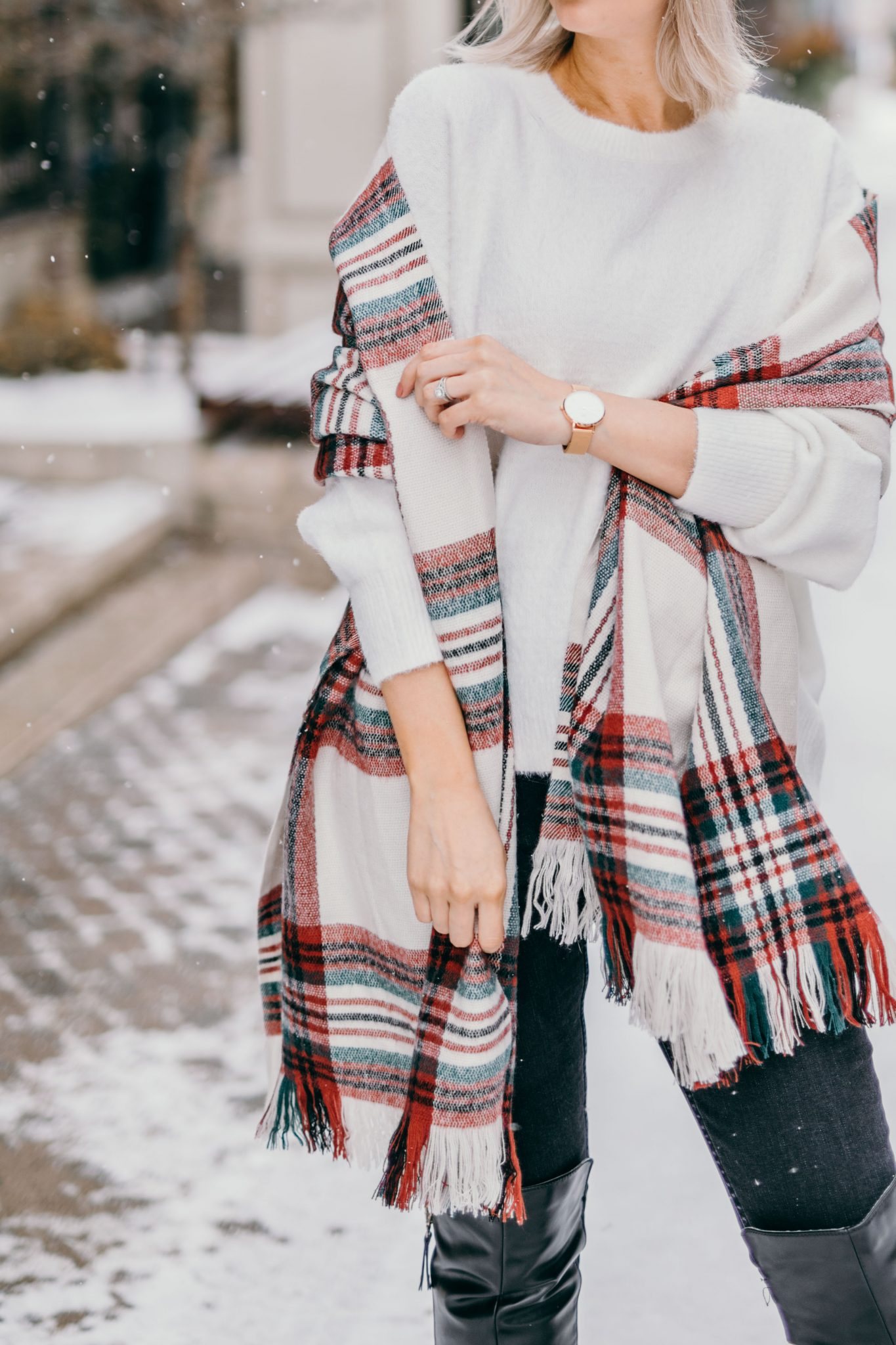 white knit sweater & plaid scarf (4 of 10)