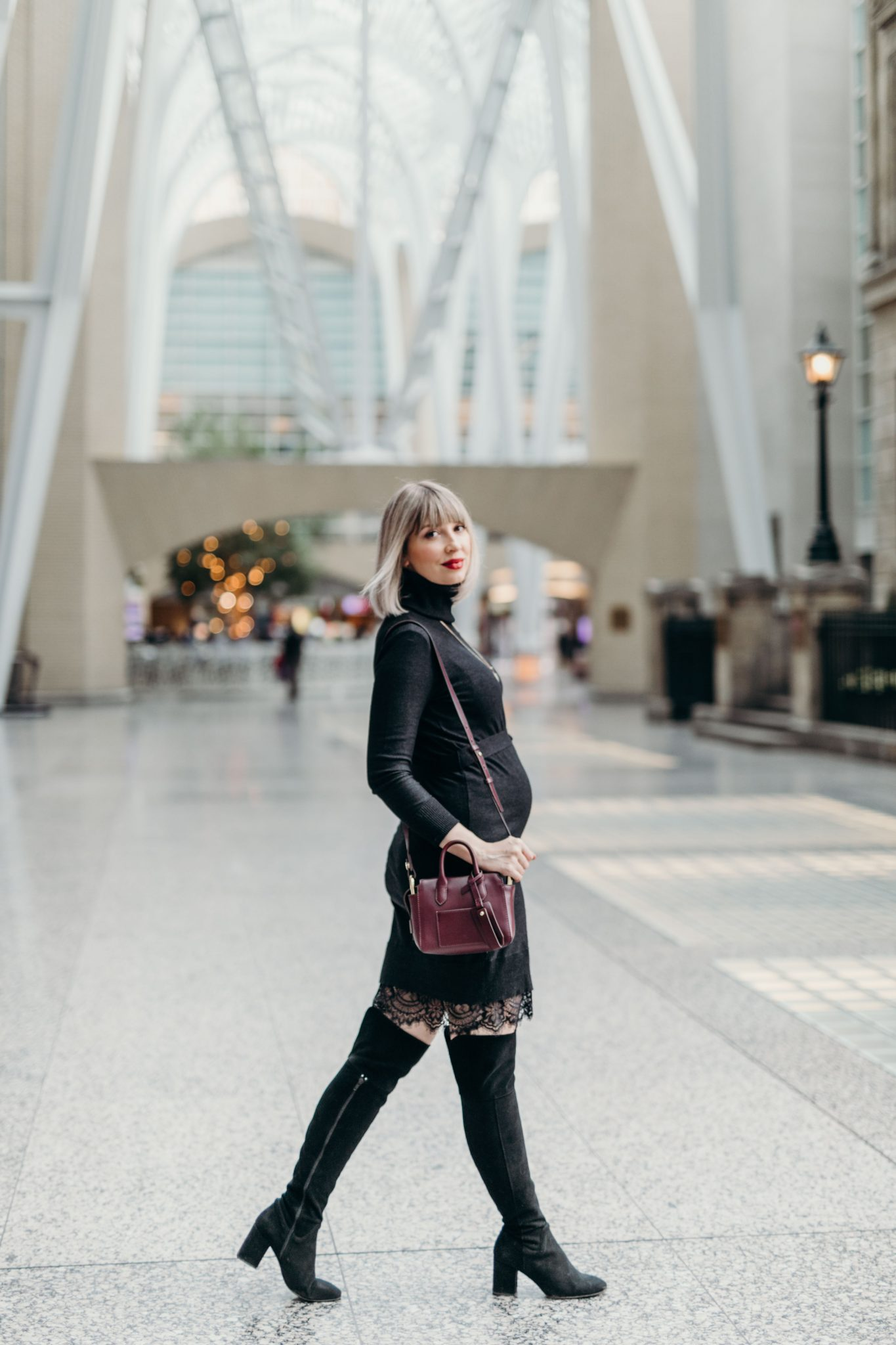 sweater Dress with Lace maternity style (3 of 10)