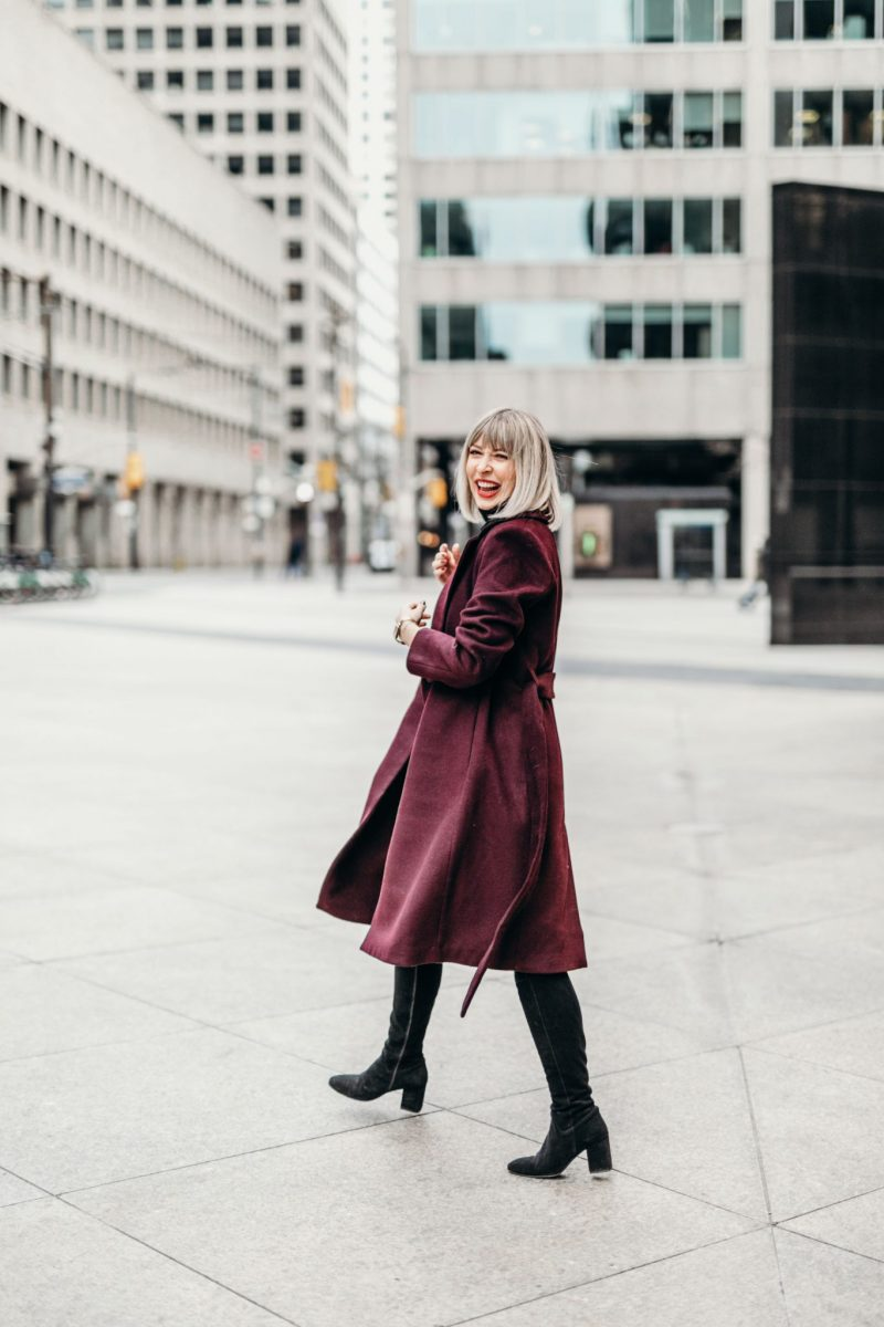 burgundy Long Wool Coat street style