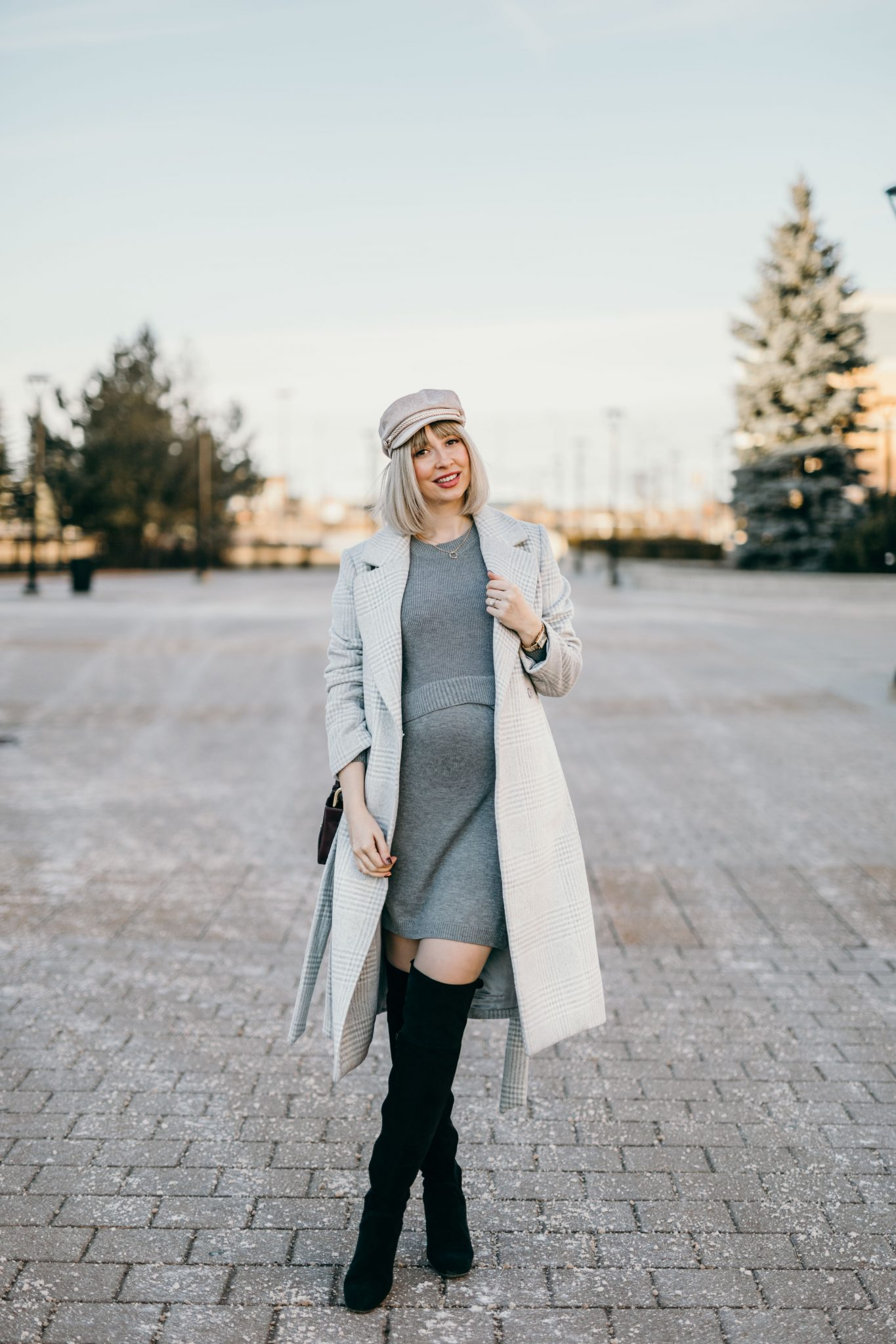 Winter Pregnancy Outfit wool coat & knit dress