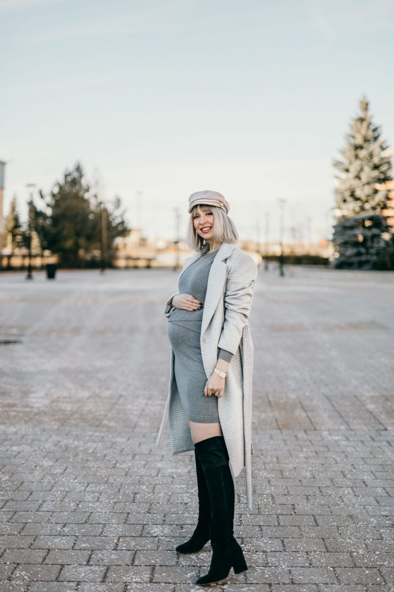 Winter Pregnancy Outfit wool coat & knit dress 3