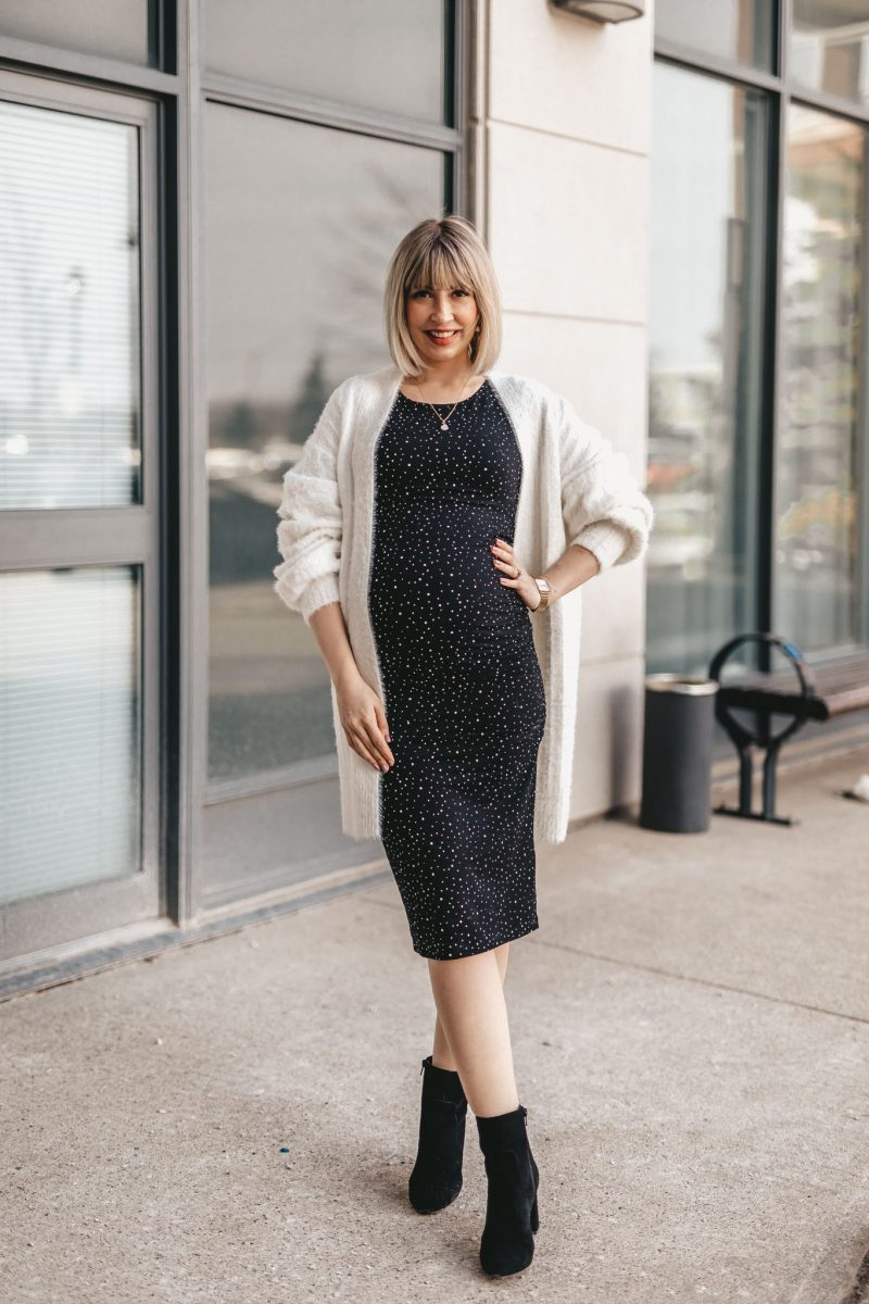 Maternity shirt dress street style NE (2 of 7)