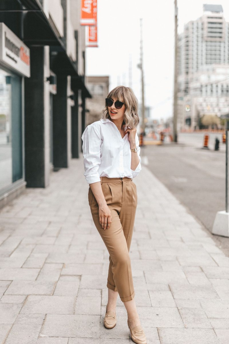 neutral street style white blouse & cotton pants (3 of 10)