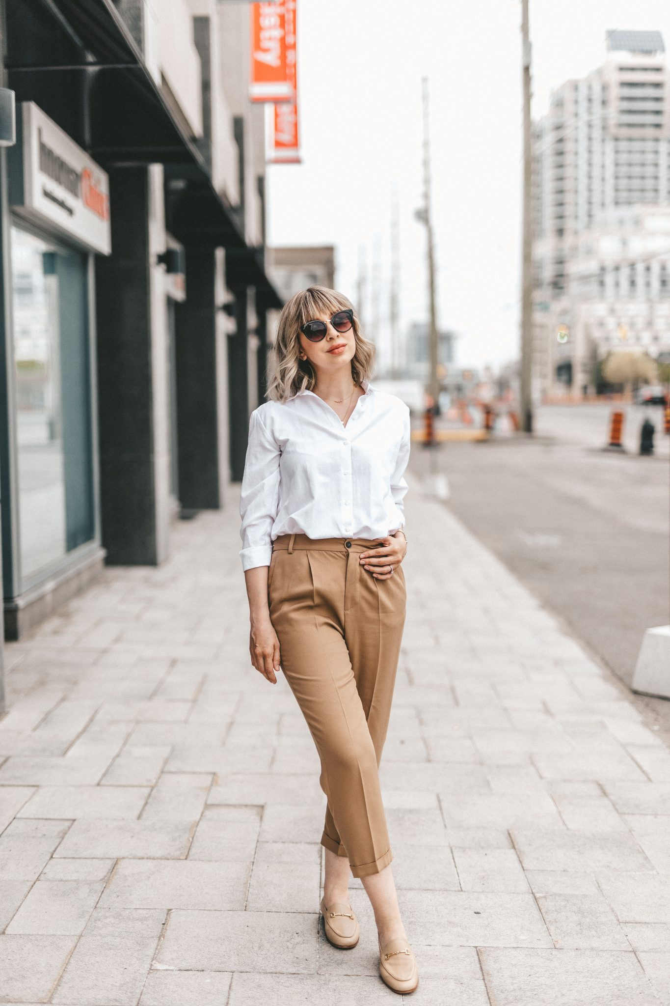 neutral street style white blouse & cotton pants (5 of 10)