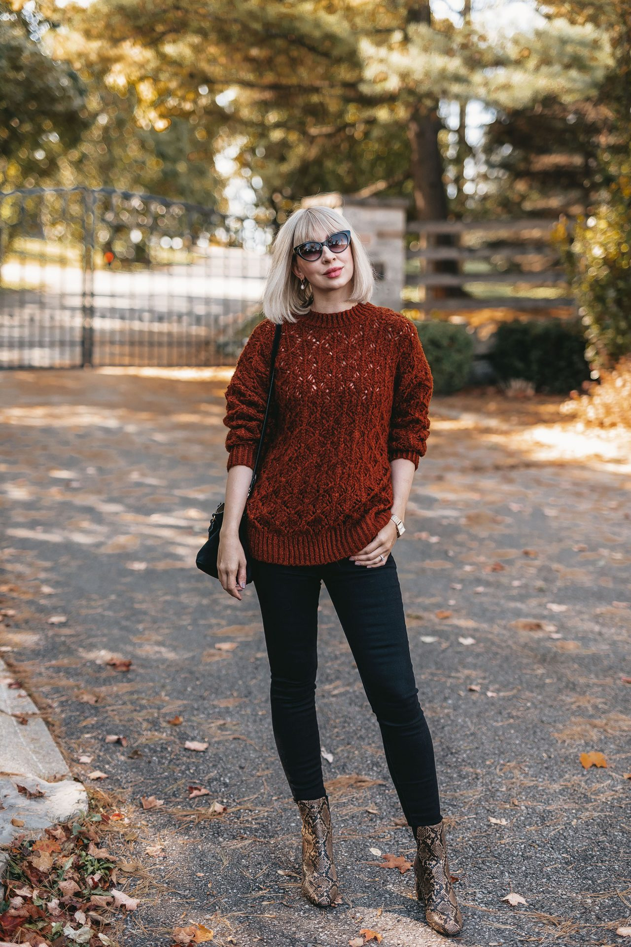 knit sweater & snake boots 1