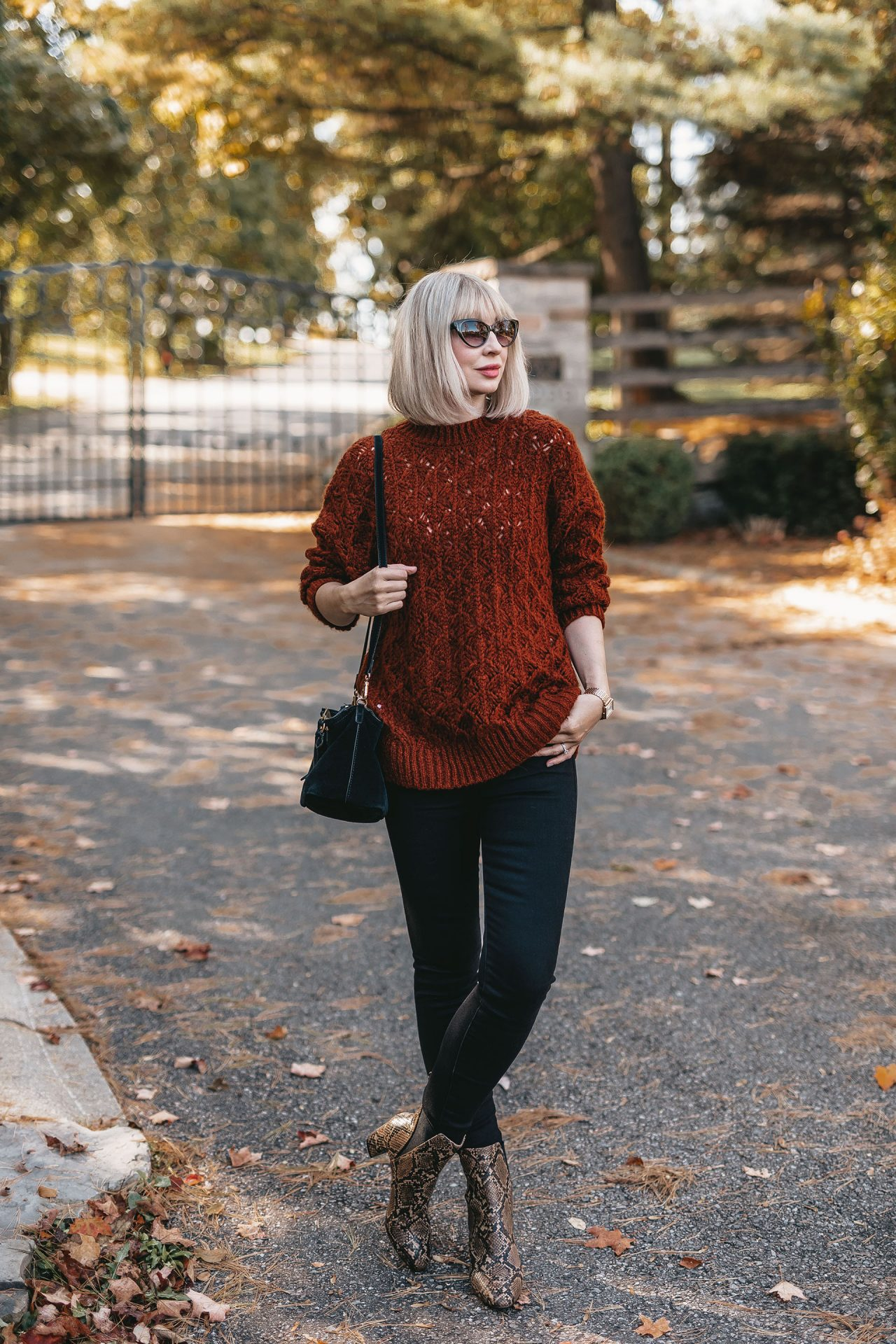 knit sweater & snake boots 2