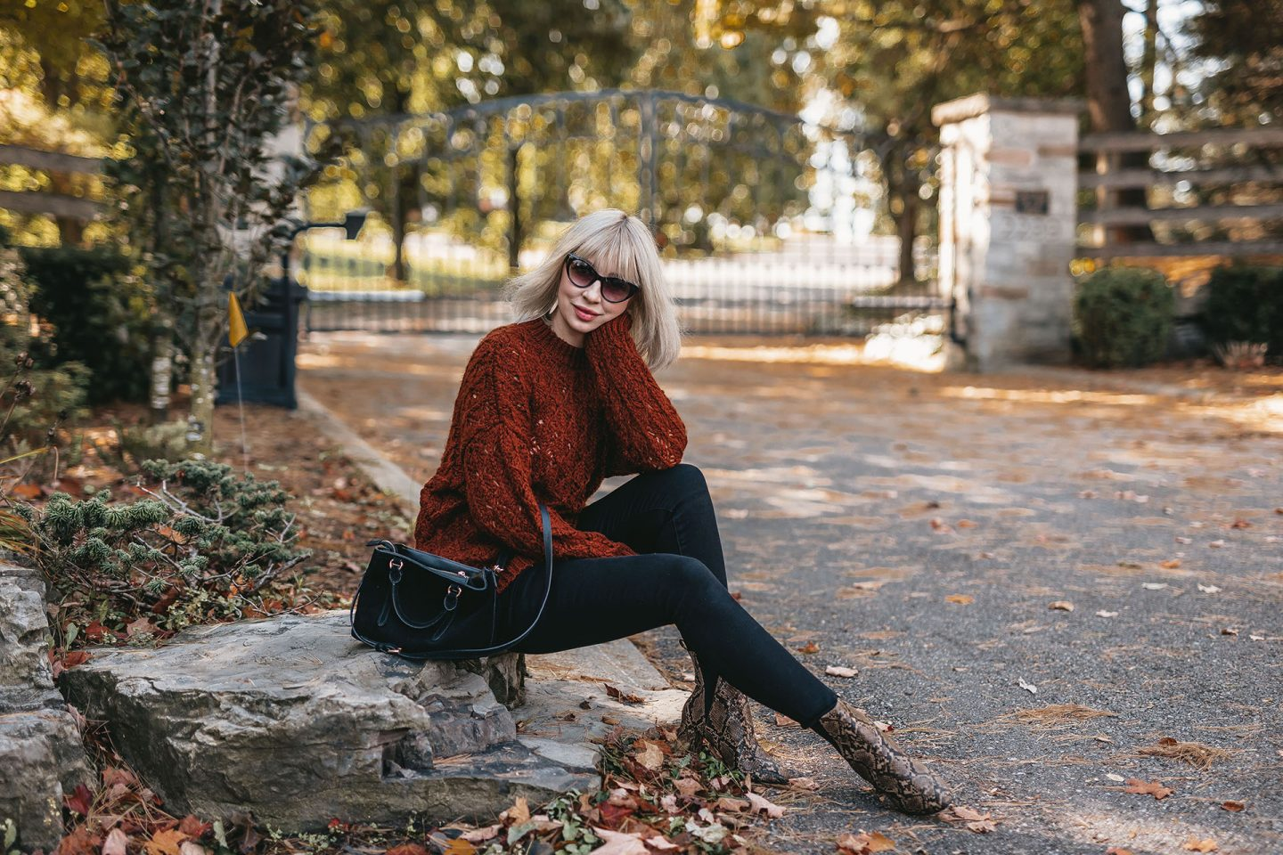 knit sweater & snake boots 4
