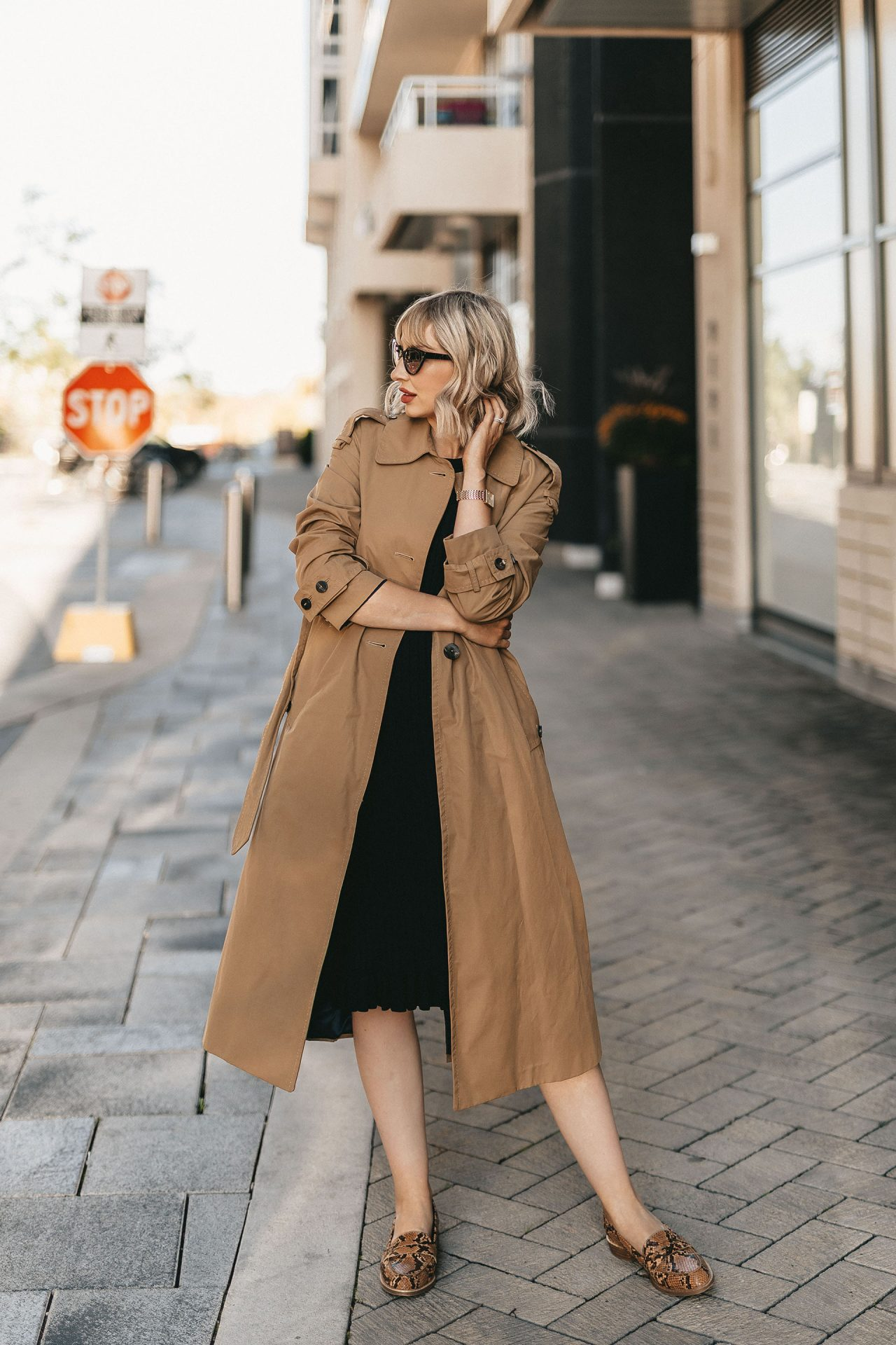 trench coat & knit dress (1 of 5)
